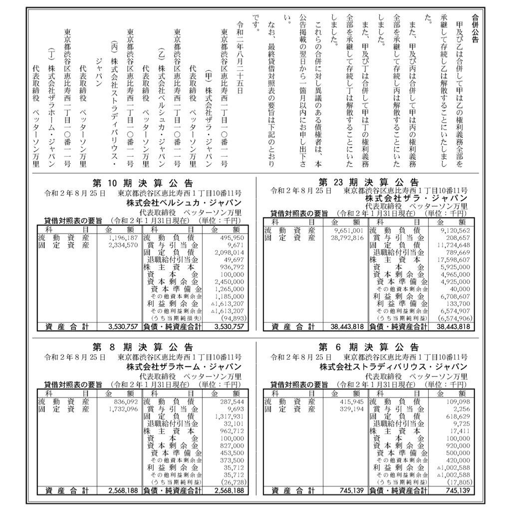 ザラ・ジャパン_決算公告